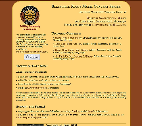 Belleville Roots Concerts Series webpage snapshot