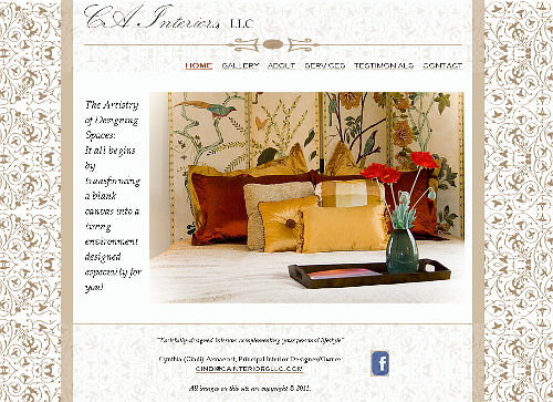 CA Interiors website snapshot